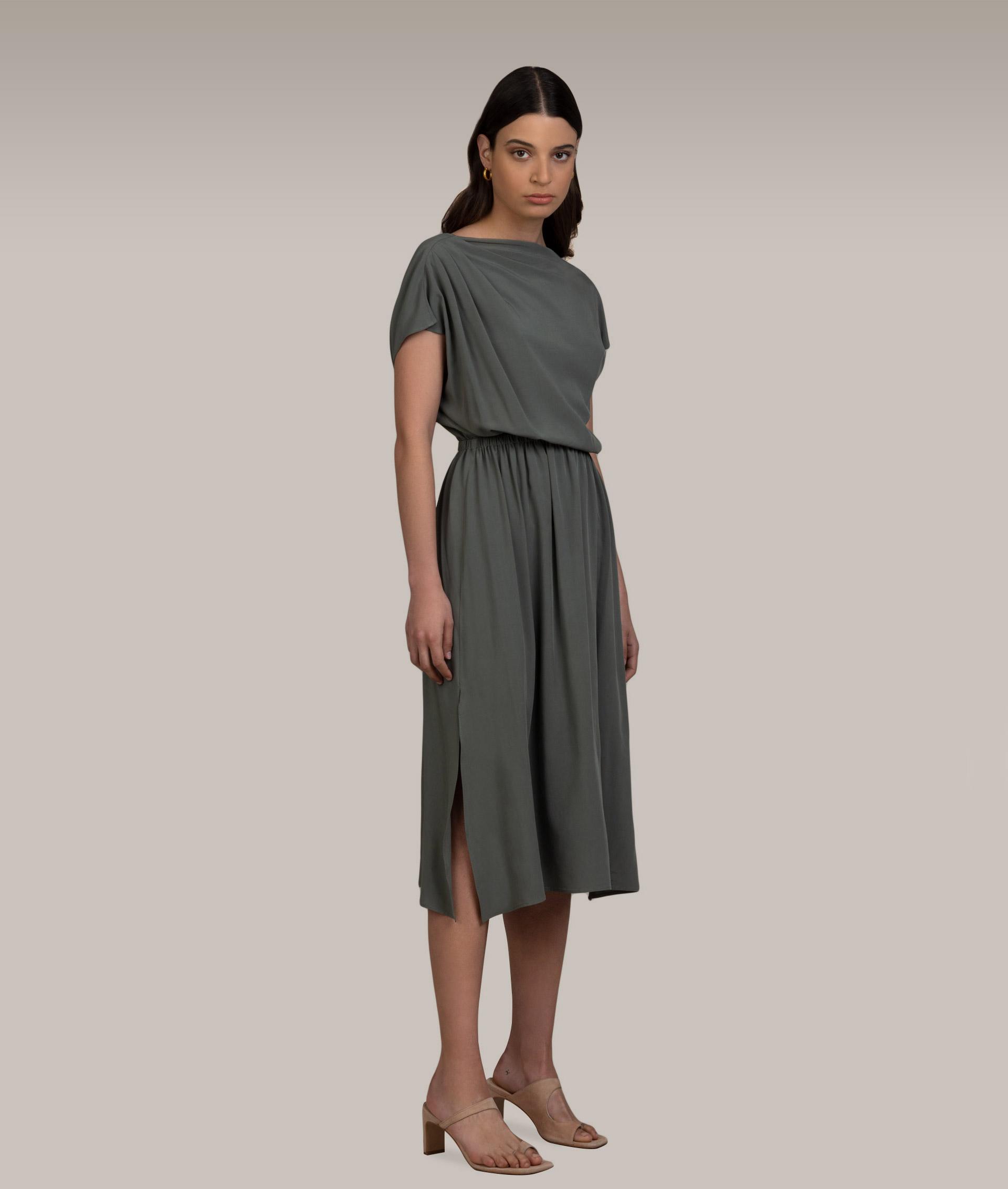 Khaki Draped Dress