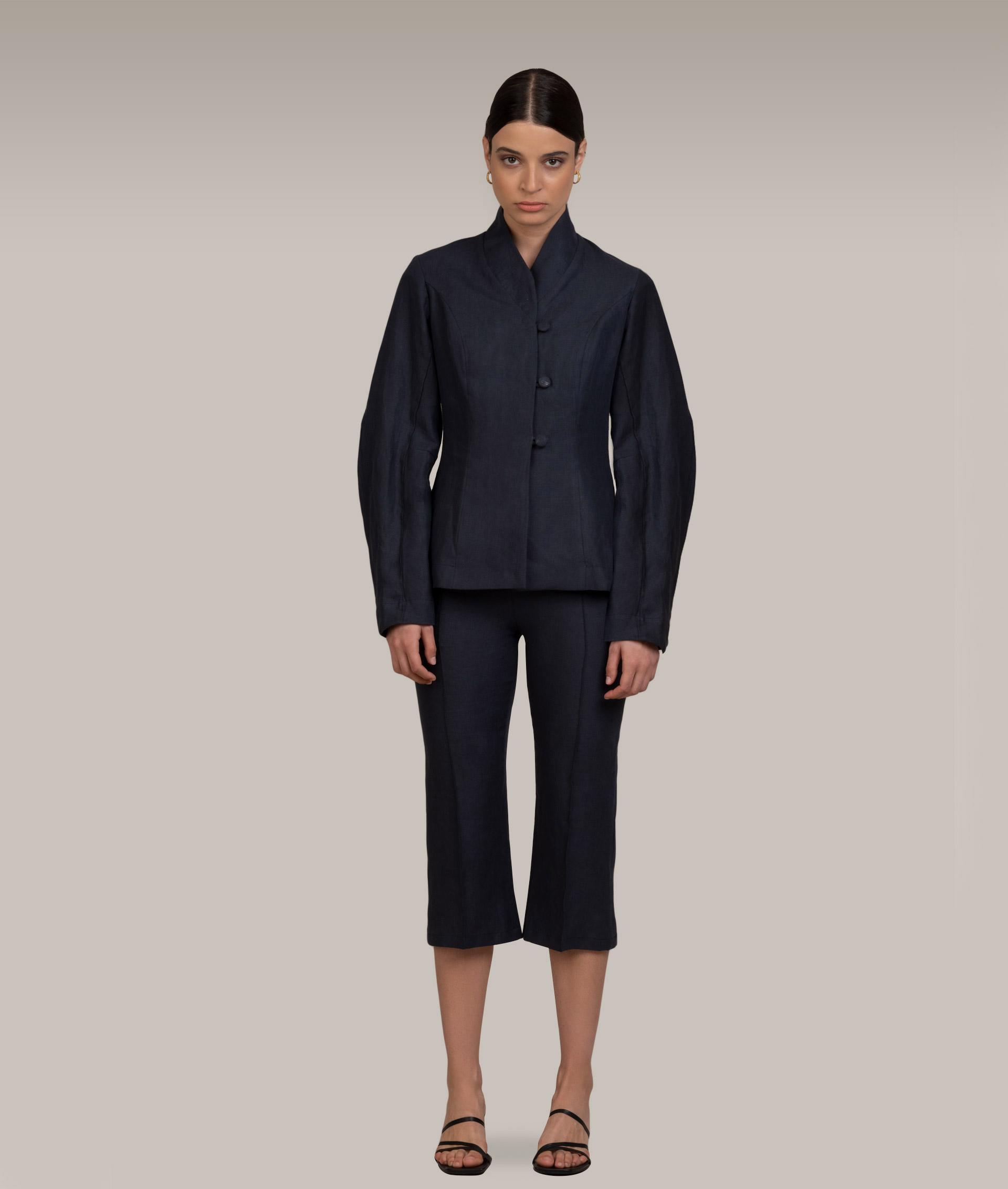 Midnight Blue Linen Jacket